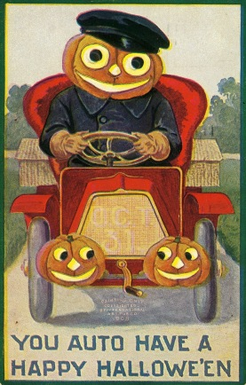 Vintage Halloween postcard. 1907 Pumkin auto and wide eyed driver. International Art Pub.Co. (USPD. pub.date/Commons.wikimedia.org)