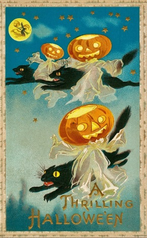 Three flying cats with pumpkins. Vintage Halloween postcard.1910. (Missouri History Museum/USPD. pub.date/Commons.wikimedia.org)
