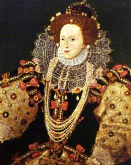 Portrait of Elizabeth I of England in puffy rounded sleeves with orange accents, round lace collar, and lots of jewels. (USPD, artist life, rerod. of PD art/Commons.wikimedia.org)