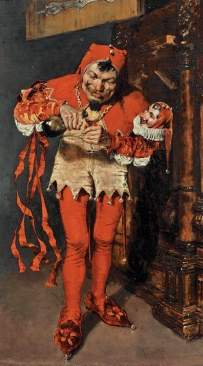 Jester pouring a drink. Court Jester by WM Chase, 1875 (USPD.artist life, pub.date/Commons.wikimedia.org)