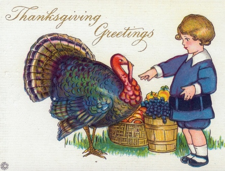 Boy and turkey. 1915 post card (USPD. pub.date, artist life/COmmons.wikimedia.org)