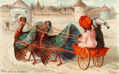 real turkey trot. Turkeys pulling children in cart . 1900's postcard (USPD.pub.date, artist life/Commons.wikimedia.org)
