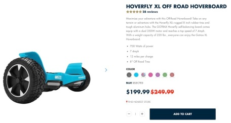 Off road Hoverboard. The All Terrain Hoverfly XL by GOTRAX (Screenshot)