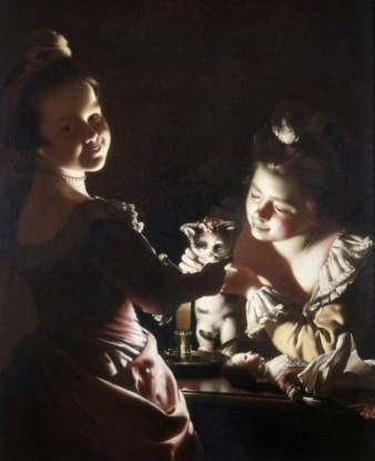 Two girls holding cat by candle light (1768 painting by Joseph Wright of Derby (USPD.artist life, pub.date/Commons.wikimedia.org)
