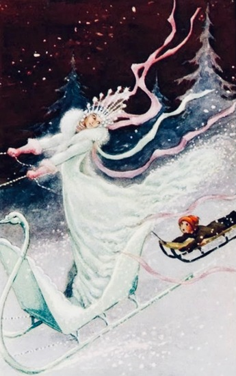 Woman on sleigh with child sledding in snow. Snow Queen fairy tale, 1946 illiustration by Kolvu. (USPDpubdate, artist life/Commons.wikimedia.org)