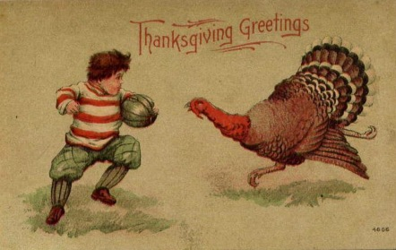 Turkey Football game with scared boy and angry turkey. (1900's post card/USPD, pub.date, artist life/Commons.wikimedia.org)