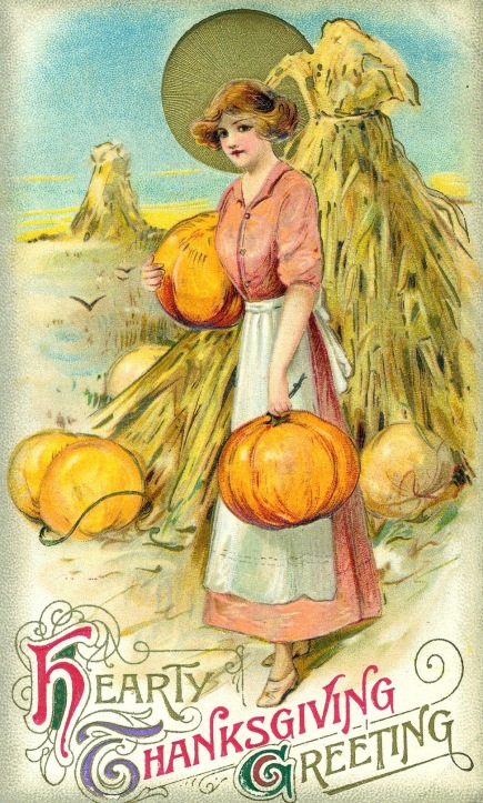 Woman with pumpkins. Thanksgiving post card, 1900's (USPD.pub.date, artist life/Commons.wikimedia.org.)