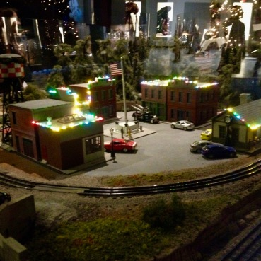 Small country town dressed for Christmas in Houston Museum of Natural Science train exhibit. (© image copyrighted, all rights reserved, NO permissions granted)