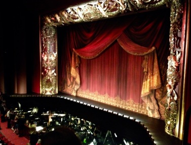Stage with curtains. Wortham Theater Center , Houston Ballet's Nutcracker set (© image: copyrighted, all rights reserved, NO permissions granted )