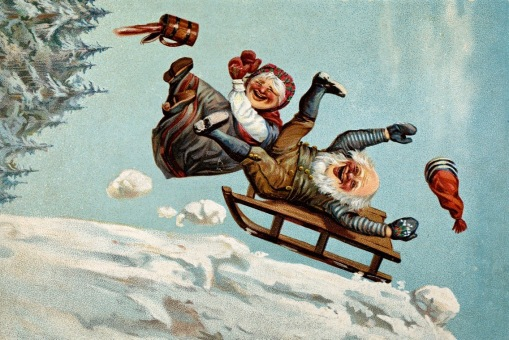 Elf couple sledding. 1890 (Christmas card, Laresen/NAt. Lib. of Norway (USPD. artist life, pub.date/Commons.wikimedia.org)