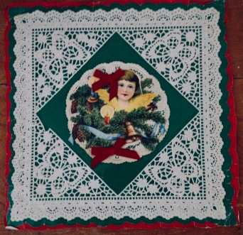 Christmas angel with red velvet bows. Vintage gift wrapping (© Image: copyrighted. all rights reserved, NO permissions granted )