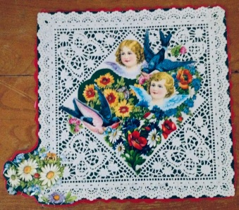 Two Christmas angels with bluebirds and flowers. Victorian style gift wrap (© Image: all rights reserved, copyrighted, NO permissions granted)
