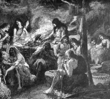 """People. Prehisoric cave dwellers. (1918 book """"Women Triumphant"""" USPD.pub.date, artist life/Commons.wikimedia.org)"""