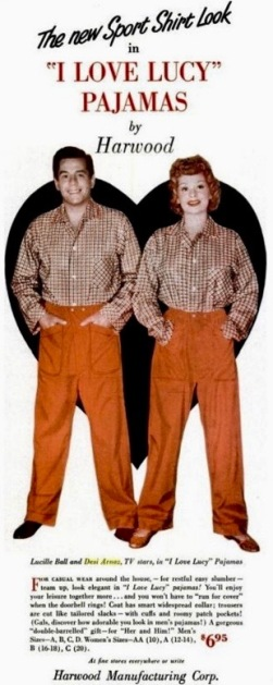 Man and woman standing in identical outfits. I love Lucy PJ ad. 1953 Ad (USPD. pub.date, artist life/Commons.wikimedia.org)