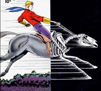 man on horse. Comic cover, 1948. Dan Barry, illustrator. (USPD, CR expired, artist life/Commons.wikimedia.org)