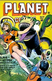 Space woman in distress. Outer Space monster. 1946. Joe Doolin cover (USPD: CR lapsed, artist life/Commons.wikimedia.org)