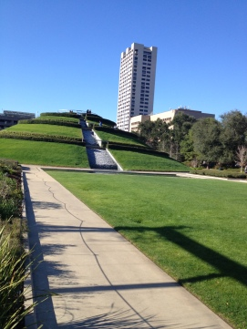 Path along the green from pavilion and fountains to hill. at McGovern Centennial Park (© image: copyrighted, all rights reserved, NO permissions granted)