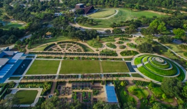 Aerial view of one corner of Herman Park. (Houston Parks image)