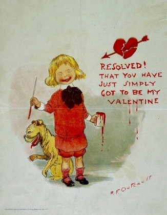 Boy with weird red mouth holding red paint brush and laughing dog on vintage Buster Brown Valentine ( 1903.Missouri History Muesum/USPD. pub.date, artist life, reprod of PD art/Commons.wikimedia.org)