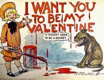 Vintage Buster Brown Valentine with boy and dog by Richard Felton Outcault (1863-1928) (USPE artist life, pub.date/Commons.wikimedia.org)