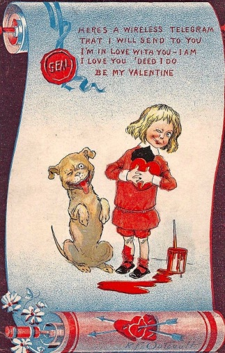 Vintage Buster Brown valentine with boy and dog. (USPD. pub.date, artist life/Commons.wikimedia.org)