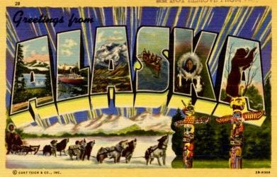 Postcard. Alaska (sled dogs) (Curt Teich prior 1964/USPD. pub.date, artist life/Commons.wikimedia.org)
