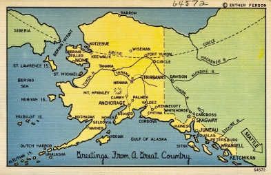 Alaska map postcard. (TIchnor Bros. Pub. (1930-1945/USDPD. artist life, publication date/Commons.wikimedia.org)