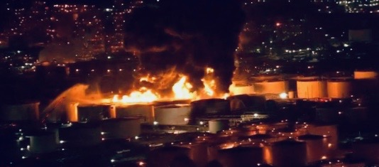 Fire at tank farm in Deer Park (KHOU screenshot)