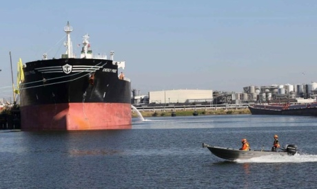 Boats. Ocean going tanker docked on Houston Ship Channel (Thomas B. Shea)