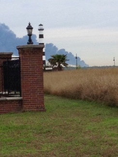 Smoke from tank farm fire seen from bridge (© image, copyrighted, no permissions granted, all rights reserved)