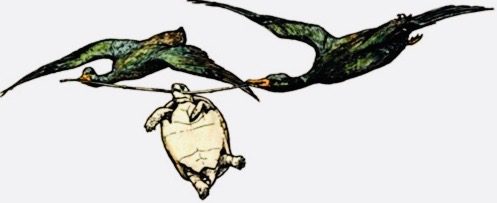 "Birds carrying turle. John Batten, ill. 1892 ""Indian Fairy Tales""(USPD: pub.date, artist life, Commons.wikimedia.org)"