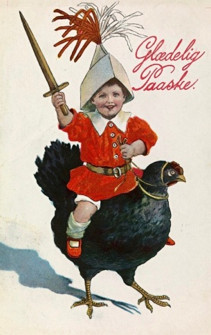 Child with sword on black chicken (Easter card/1909-1911. Jenny Nystrom artist, Nat. Lib. of Norway (USPD. artist life, pub.date/Commonswikimedia.org)