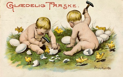 Two babies cracking open Easter Eggs with hammers (Easter Card, 1909-1911.J.Nystrom/USPD. pub.date, artist life/Commons.wikimedia.org)