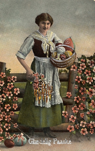 Woman with basket and flowers. Happy Easter card, 1919. (Nat. Lib. of Norway/anne-Sophie Ofrim/Commons.wikimedia.org)