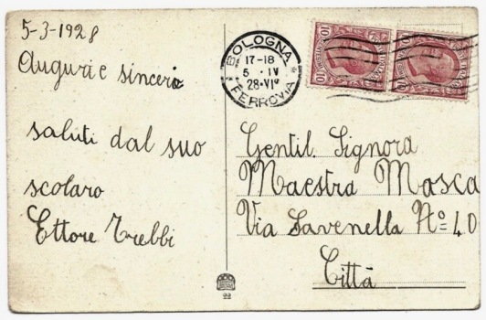Back of vintage Easter Postcard. 1928 (USPD.pub.date, artist life/Commoins.wikimedia.org