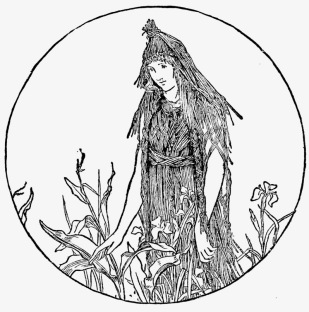 Woman dressed in corn husk camo in field. John Batten, English Fairy tales, 1895 (USPD. pub,date, artist life/Commons.wikimedia.org)