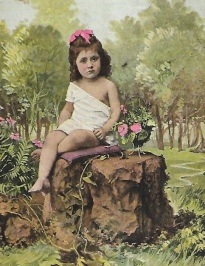 small girl sitting on rock in forest (1903 postcard/USPD.artist life, publication date/Commons.wikimedia.org)