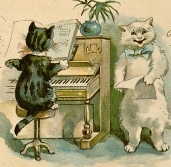 Cats singing and playing piano. (postcard by Numberg Theo Stroefer's Kunstverlah, 1899/USPD pub.date, artist life/COmmons.wikimedia.org)