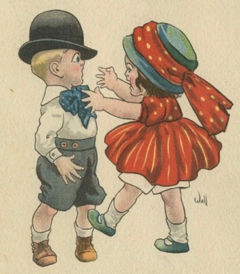 Girl and boy fighting. (1911 suffrage postcard/USPD, pub.date, artist life/Commons.wikimedia.org)