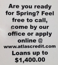 Back of postcard marketing Spring loans (© image. Copyrighted, all rights reserved , no permissions granted