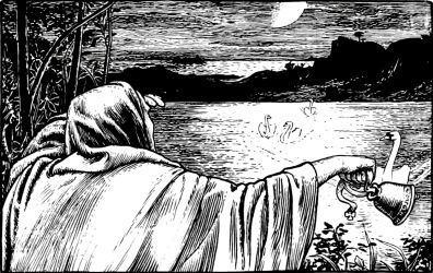 Woman calling swans with bell (1894.More Celtic Fairy Tales, Jacobs/Batten ill. (USPD pub.date, artist life/Commons.wikimedia.org)