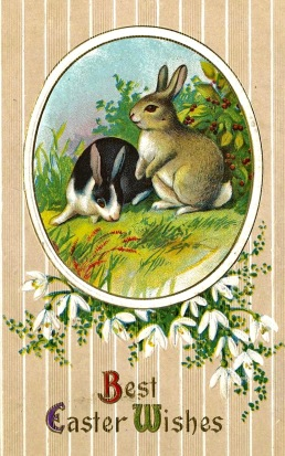 Two bunnies on Easter postcard /early 20th century in US (USPD.pub.date, artist life/commons.wikimedia.com)