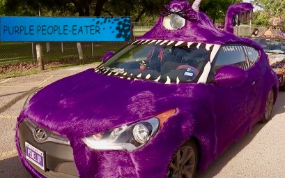 Fur covered, one eyed Art Car named Purple People-Eater. (Screenshot ABC/ch13 news)