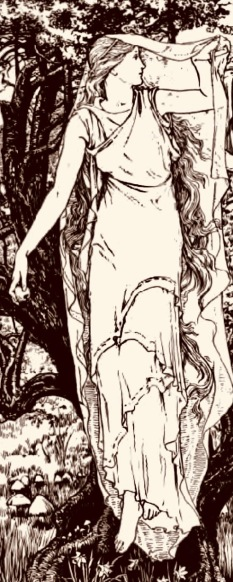 woman. Batten/Connia and the Fairy Maiden, Celtic Fairy Tales, 1892 (USPD, pub.date, artist life/Commons.wikimedia.org)