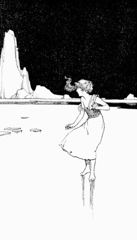 girl on ice.(Heath?Snow Queen. Hans Andersen's Firy tales 1913/USPD.pubdate, artist life/COmmons.wikimedia.org)