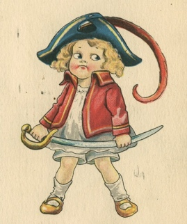 Small girl dressed with hat, red jacket, and sword (1911. suffrage postcard/USPD.artist life, pub.date/Commons.wikimedia.org