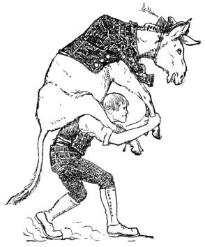 Man carrying donkey.(English Fairy Tales/Batten) (USPD. pub.date 1891, artist life/COmmons.wikimedia.org)