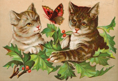 Two cats and a butterfly. (ca.1890. Greeting card/USPD. pub.date, artist life/Commons.wikimeedia.org)