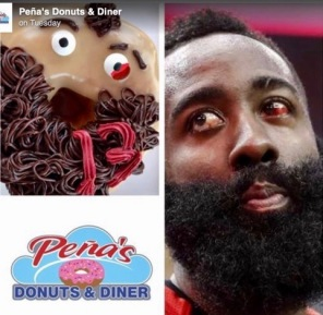 Fancy donuts and Rocket's basketball player James Harden (Facebook/click2houston)