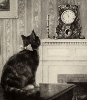 Cat and clock. 1909 children's book illustration/W.S.Davis/ USPD. pub.date, artist life/Commons.wikimedia.org